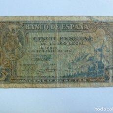 Billetes españoles: 5 PESETAS. 4 DE SEPTIEMBRE DE 1940. Lote 142407786
