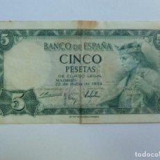 Billets espagnols: 5 PESETAS. 22 DE JULIO DE 1954. Lote 142409802