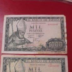 Billetes españoles: BILLETES MIL PESETAS ESPAÑA 19 NOVIEMBRE 1965 SERIE Q Y A. Lote 142447390