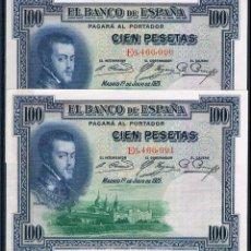 Billetes españoles: ESPAÑA, PAREJA CORRELATIVA DE 100 PESETAS 1925 SERIE-E EBC++. Lote 142731278