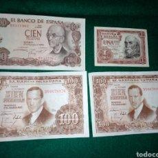 Billetes españoles: LOTE BILLETE CIEN 100 PESETAS Y UNA PESETA 1953 , 1970 EXCELENTE ESTADO. Lote 142829717