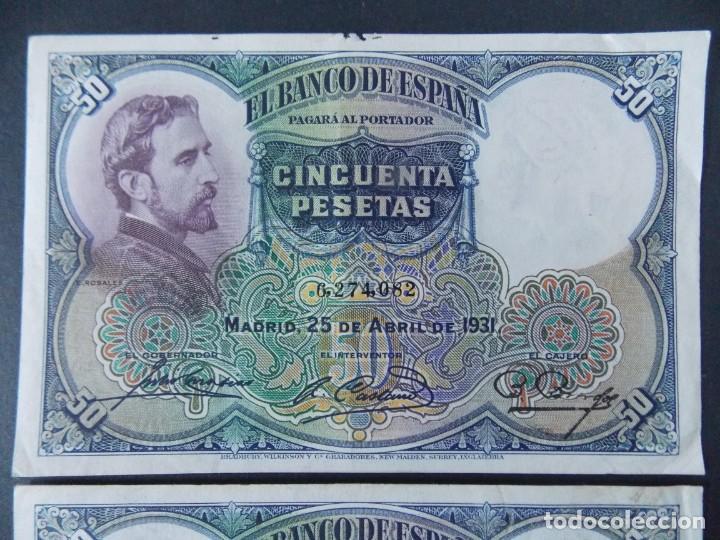 Billetes españoles: TRIO CORRELATIVO 50 PESETAS 1931 - SIN SERIE - VER FOTOS Y DESCRIPCION ...A123 - Foto 2 - 142867978