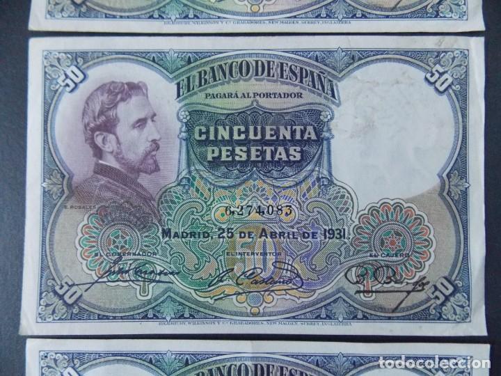 Billetes españoles: TRIO CORRELATIVO 50 PESETAS 1931 - SIN SERIE - VER FOTOS Y DESCRIPCION ...A123 - Foto 3 - 142867978