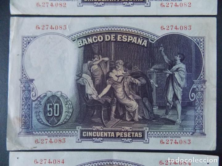 Billetes españoles: TRIO CORRELATIVO 50 PESETAS 1931 - SIN SERIE - VER FOTOS Y DESCRIPCION ...A123 - Foto 6 - 142867978