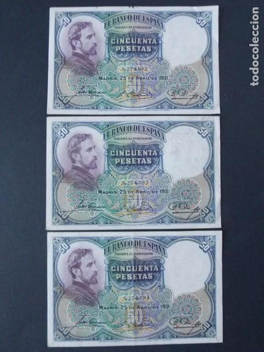 TRIO CORRELATIVO 50 PESETAS 1931 - SIN SERIE - VER FOTOS Y DESCRIPCION ...A123 (Numismática - Notafilia - Billetes Españoles)