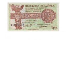 Billetes españoles: 1 PESETA 1937 DE LA REPÚBLICA, SIN CIRCULAR/PLANCHA. Lote 143066650
