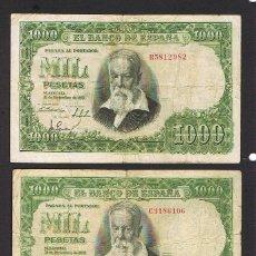 Billetes españoles: ESPAÑA : 1000 PESETAS X 2 BILLETES 1951 ( JOAQUIN SOROLLA ) BC . FIND- . PK 143. Lote 143549750
