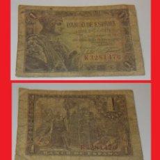 Billetes españoles: BILLETE DE 1 PESETA DEL AÑO 1943 DE FERNANDO EL CATÓLICO CIRCULADO. Lote 143571038