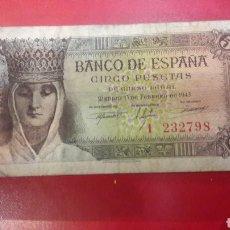 Billetes españoles: ESPAÑA 5 PESETAS 13 FEBRERO 1943 SERIE I. Lote 143577002