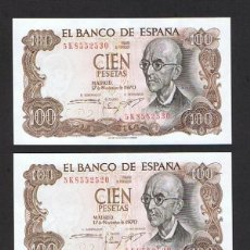 Banconote spagnole: ESPAÑA : 100 PESETAS ( LOTE DE 3 ) 1970 ( MANUEL DE FALLA ) EBC.XF. PK.152. Lote 143633182