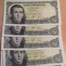 Billetes españoles: LOTE 8 UNIDADES. BILLETE 5 PESETAS MADRID 1951. CORRELATIVOS SIN SERIE. SC-PLANCHA 2942946/2942953. Lote 143752702