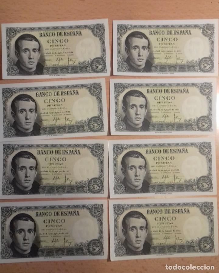 Billetes españoles: LOTE 8 UNIDADES. BILLETE 5 PESETAS MADRID 1951. CORRELATIVOS SIN SERIE. SC-PLANCHA 2942946/2942953 - Foto 3 - 143752702