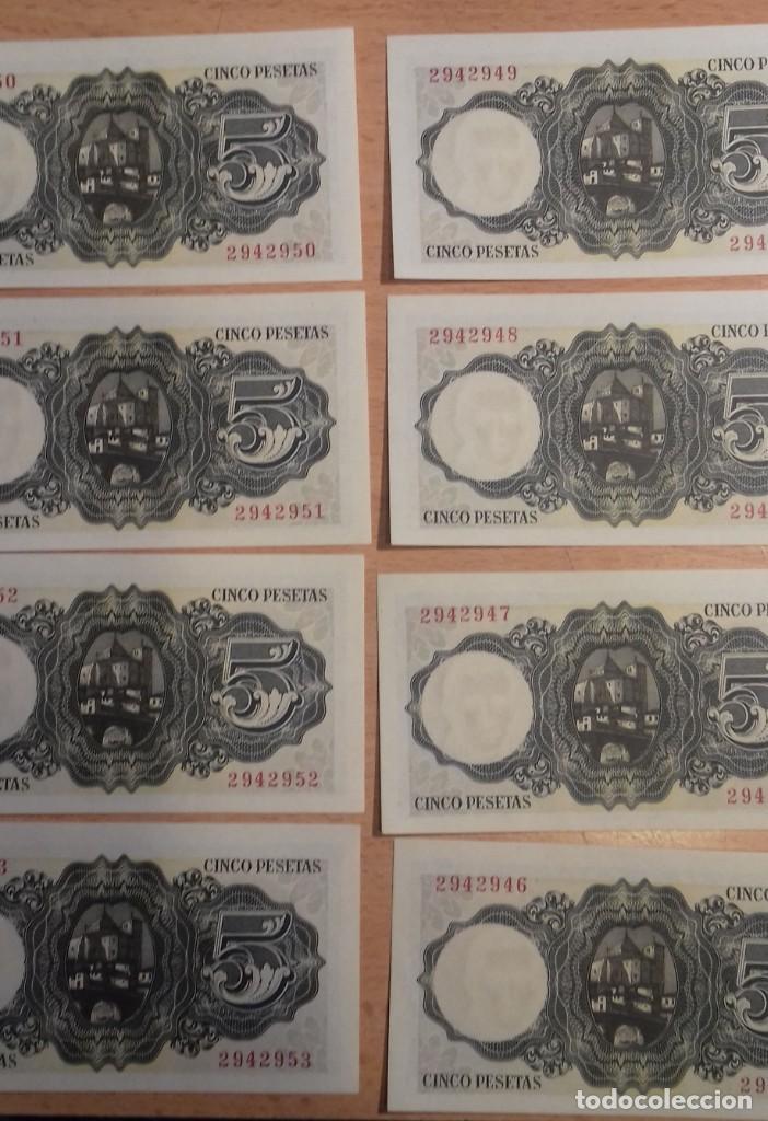 Billetes españoles: LOTE 8 UNIDADES. BILLETE 5 PESETAS MADRID 1951. CORRELATIVOS SIN SERIE. SC-PLANCHA 2942946/2942953 - Foto 4 - 143752702