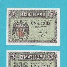 Billetes españoles: PAREJA CORRELATIVA DE UNA PESETA 1938 SERIE-C SC. Lote 143760450