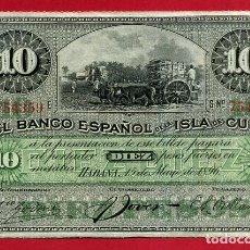 Banconote spagnole: BILLETE 10 PESOS PLATA 1896, BANCO ESPAÑOL ISLA DE CUBA EPOCA ESPAÑOLA , MBC+ ,ORIGINAL ,T359. Lote 144016790