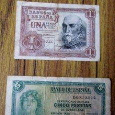 Billetes españoles: 2 BILLETES - 1 PESETA 1953 - 5 PESETAS 1935 . Lote 144144114