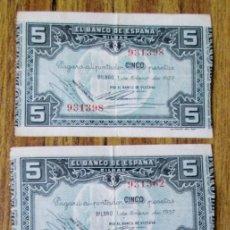 Billetes españoles: 3 BILLETES - 5 PESETAS 1937 - LOS DE LAS FOTOGRAFÍAS. Lote 144144490