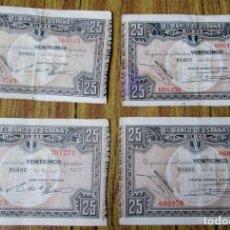 Billetes españoles: 4 BILLETES 25 PESETAS 1937 -- LOS DE LAS FOTOS . Lote 144145230