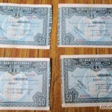 Billetes españoles: 4 BILLETES 50 PESETAS 1937 - LOS DE LA FOTO. Lote 144145486