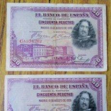 Billetes españoles: 2 BILLETES DE 50 PESETAS -- 1928 LOS DE LAS FOTOS . Lote 144145762