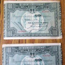 Billetes españoles: 2 BILLETES DE 100 PESETAS 1937 -- LOS DE LAS FOTOS. Lote 144145986