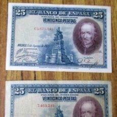 Billetes españoles: 2 BILLETES DE 25 PESETAS 1928 -- LOS DE LAS FOTOS . Lote 144146194