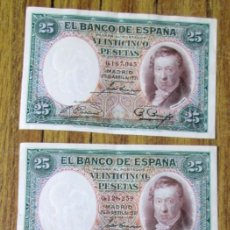 Billetes españoles: 3 BILLETES DE 25 PESETAS 1931 -- LOS DE LAS FOTOS . Lote 144146398