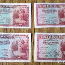 Billetes españoles: 4 BILLETES DE 10 PESETAS 1935 -- LOS DE LAS FOTOS . Lote 144146570