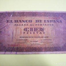 Billetes españoles: BILLETE CIEN PESETAS BURGOS MAYO 1938. Lote 144243874