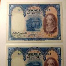 Billetes españoles: 500 PESETAS 1927. PAREJA CORRELATIVA. EBC++. Lote 144487741