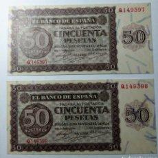 Billetes españoles: 50 PESETAS 1936. PAREJA CORRELATIVA. S/C. Lote 144496078