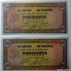 Billetes españoles: ESPAÑA, 50 PESETAS 1938. PAREJA CORRELATIVA EBC+++. Lote 144509982
