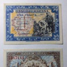 Billetes españoles: 1 PESETA DE 1940, PAREJA S/C, SIN N° SERIE. Lote 144531409