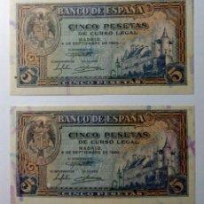 Billetes españoles: ESPAÑA, 5 PESETAS 1940, PAREJA CORRELATIVA. S/C. Lote 144533713