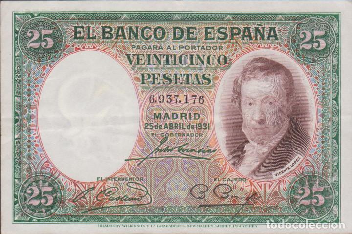 BILLETES ESPAÑOLES - II REPUBLICA - 25 PESETAS 1931 - (EBC-) (Numismática - Notafilia - Billetes Españoles)