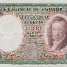 Billetes españoles: BILLETES ESPAÑOLES - II REPUBLICA - 25 PESETAS 1931 - (EBC-). Lote 144587130