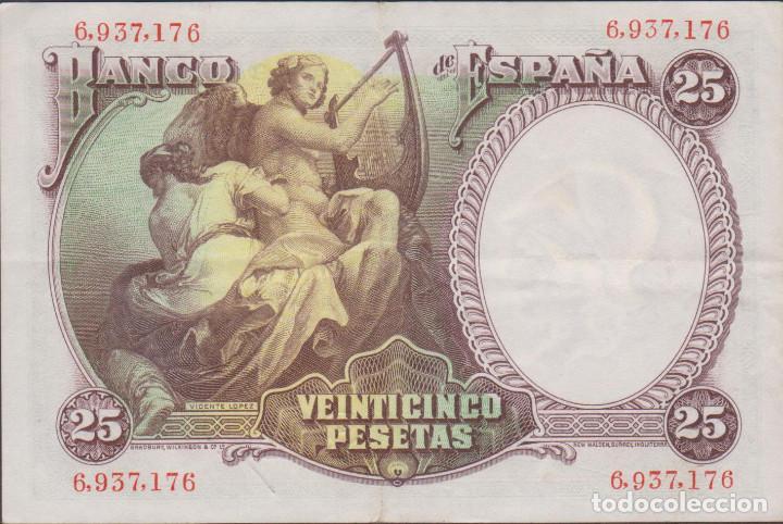 Billetes españoles: BILLETES ESPAÑOLES - II REPUBLICA - 25 PESETAS 1931 - (EBC-) - Foto 2 - 144587130