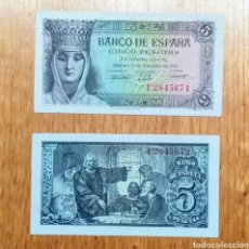 Billetes españoles: 5 PESETAS 1943. PAREJA CORRELATIVA, SC.. Lote 144667133