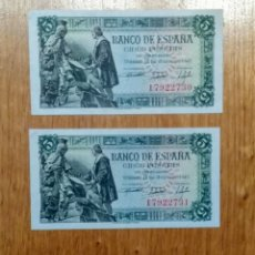 Billetes españoles: ESPAÑA 1945, 5 PESETAS, PAREJA CORRELATIVA SC. Lote 144740800