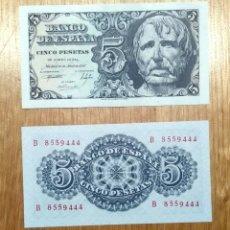 Billetes españoles: ESPAÑA 1947, 5 PESETAS, PAREJA CORRELATIVA SC.. Lote 144742825
