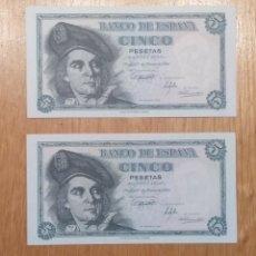 Billetes españoles: ESPAÑA 1.948, 5 PESETAS, PAREJA CORRELATIVA SC. Lote 144743208