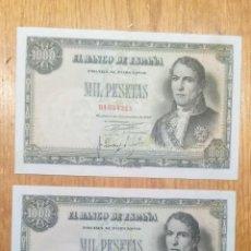 Billetes españoles: ESPAÑA 1949, 1000 PESETAS. PAREJA CORRELATIVA SIN SERIE. EBC+++. Lote 144744086