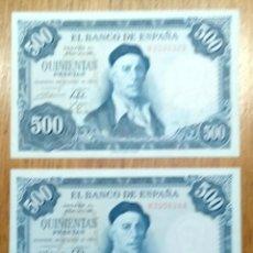 Billetes españoles: ESPAÑA 1954, 500 PESETAS. PAREJA CORRELATIVA SC.. Lote 144809689