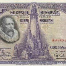 Billetes españoles: BILLETE 100 PESETAS. BANCO DE ESPAÑA. 15 DE AGOSTO DE 1928. CERVANTES. NUMERADO A9,948,284.. Lote 145081538