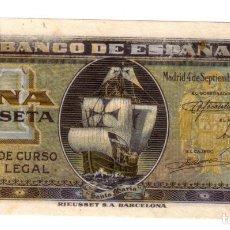 Billetes españoles: ESPAÑA 1 PESETA 4 SEPTIEMBRE 1940 CARABELA SERIE A S/C. Lote 145099174