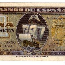 Billetes españoles: BANCO ESPAÑA 1 PESETA MADRID 4 SEPTIEMBRE 1940 CARABELA. Lote 145100750