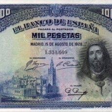 Billetes españoles: BILLETE ESPAÑOL 1000 PESETAS SAN FERNANDO MADRID 15 AGOSTO 1928 EBC. Lote 145983778