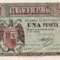 Billetes españoles: BILLETE ESPAÑOL UNA 1 PESETA EBC BURGOS 28 FEBRERO 1938 II AÑO TRIUNFAL. Lote 145501462
