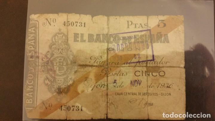 BILLETE DE 5 PESETAS DE 1936 GIJON (Numismática - Notafilia - Billetes Españoles)