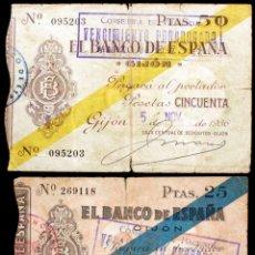Billetes españoles: 2 BILLETES 25-50 PESETAS 1936 GIJON BC/MBC-. Lote 133890706